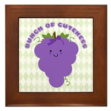 Cute Kawaii Grapes Framed Tile