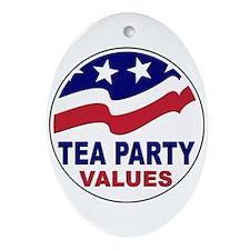 Tea Party Values Ornament (Oval)