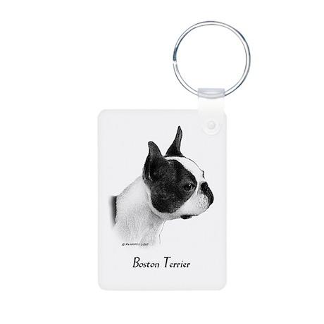 Boston Terrier Aluminum Photo Keychain