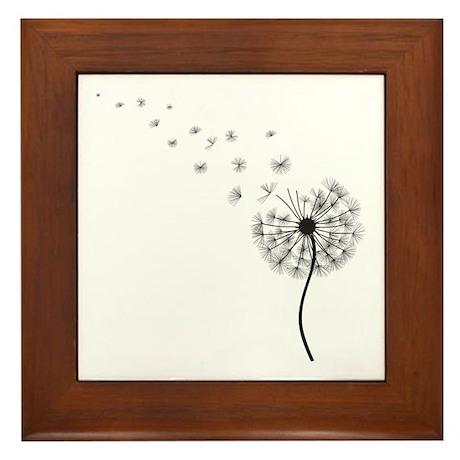 Blowing Dandelion Framed Tile