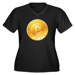 Bitcoins-1 Women's Plus Size V-Neck Dark T-Shirt