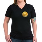 Bitcoins-1 Women's V-Neck Dark T-Shirt