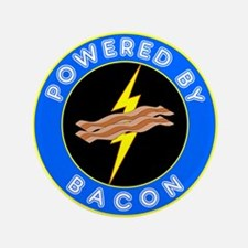 """Powered By Bacon 3.5"""" Button (100 pack)"""