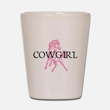 pink horse cowgirl Shot Glass