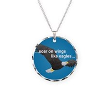 Wings Like Eagles Necklace Circle Charm