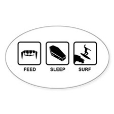 Feed, Sleep, Surf - Vampire Surfer Decal
