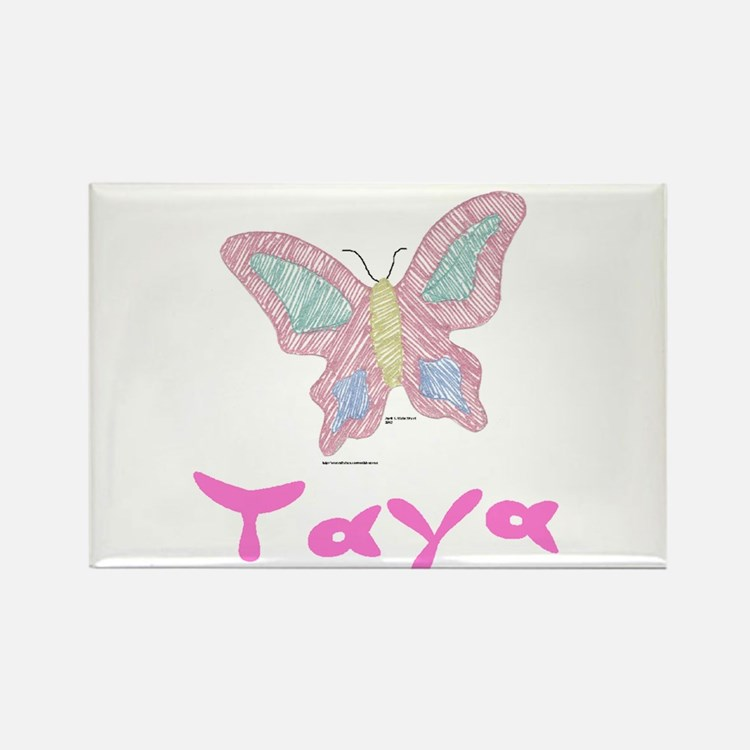 Pink Butterfly Taya Rectangle Magnet