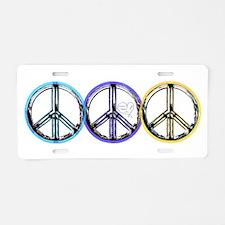 VINTAGE METALIC PEACE SIGN Aluminum License Plate