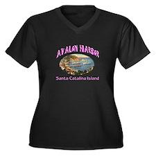 Avalon Harbor Women's Plus Size V-Neck Dark T-Shir