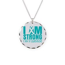 I am Strong Cervical Cancer Necklace Circle Charm