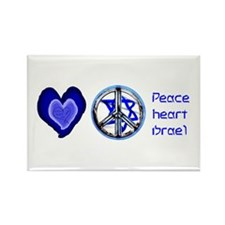 PEACE HEART ISRAEL / JEWISH Rectangle Magnet