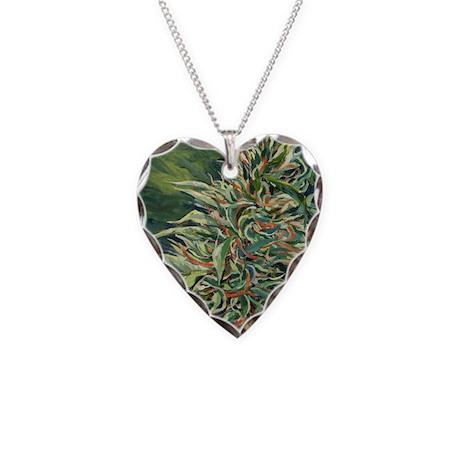 Cannabis Art Heart Necklace (Super Silver Haze)