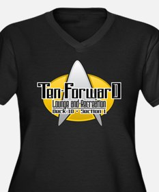 ST TNG: Ten Forward Women's Plus Size V-Neck Dark