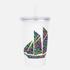Colorful Cut Paper Mos Acrylic Double-wall Tumbler
