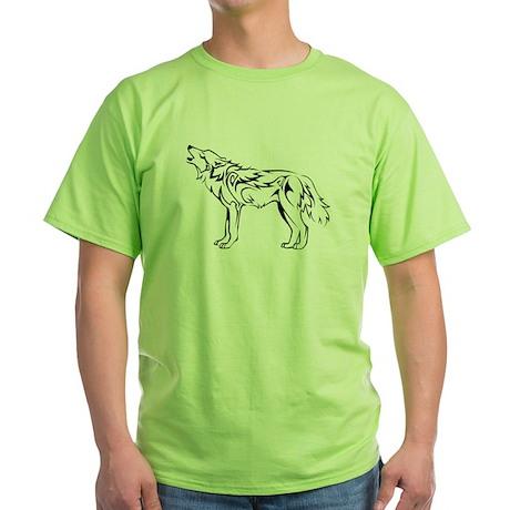 Tribal Howling Wolf Green T-Shirt