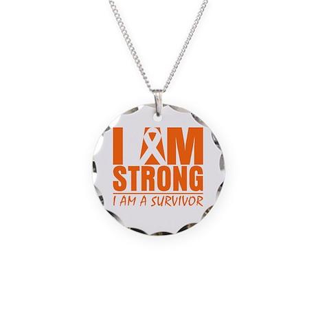 I am Strong Leukemia Necklace Circle Charm