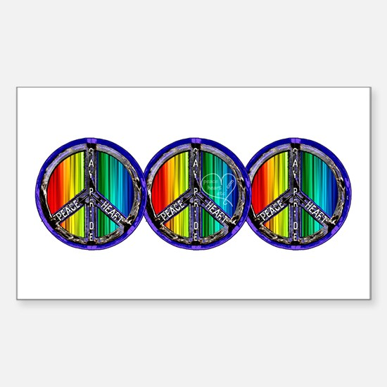 PEACE HEART GAY PRIDE Sticker (Rectangle)