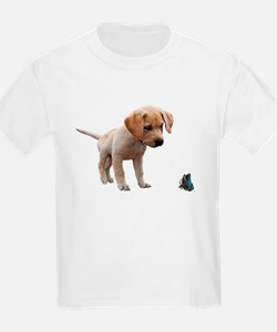 Cute Lab Puppy Eyeing Blue Butterfly T-Shirt