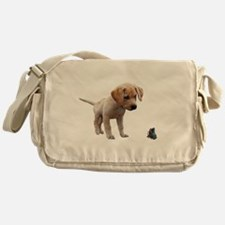 Cute Lab Puppy Eyeing Blue Butterfly Messenger Bag