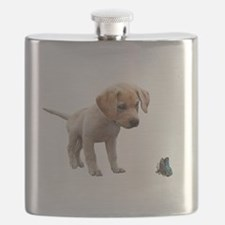 Cute Lab Puppy Eyeing Blue Butterfly Flask