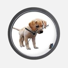 Cute Lab Puppy Eyeing Blue Butterfly Wall Clock