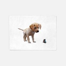 Cute Lab Puppy Eyeing Blue Butterfl 5'x7'Area Rug