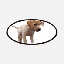 Cute Lab Puppy Eyeing Blue Butterfly Patch