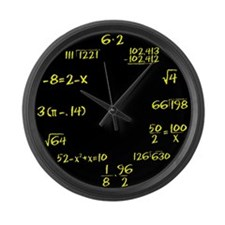 Black Slate with Yellow Chalk Large Wall Clock