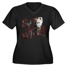 """Say When"" Women's Plus Size V-Neck Dark T-Shirt"
