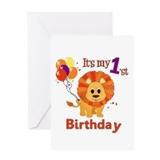 1st Birthday Lion Greeting Card