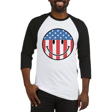 Patriotic Smiley 2 Baseball Jersey