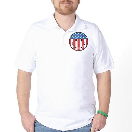 Patriotic Smiley 2 Golf Shirt