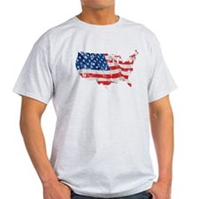 Tattered America Flag Map T-Shirt