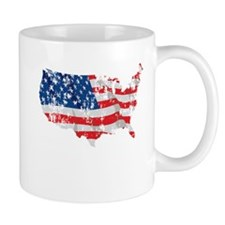 Tattered America Flag Map Mug