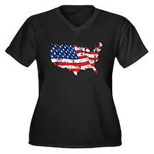 Tattered America Flag Map Women's Plus Size V-Neck