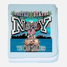 USN Navy Tin Can Sailor baby blanket