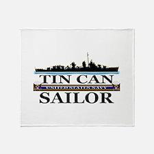USN Tin Can Sailor Silhouette Throw Blanket
