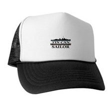 USN Tin Can Sailor Silhouette Trucker Hat