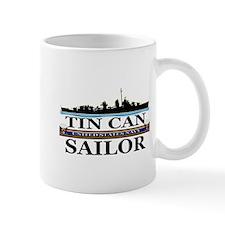 USN Tin Can Sailor Silhouette Small Mug