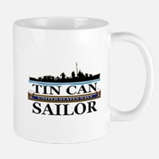 USN Tin Can Sailor Silhouette Small Small Mug
