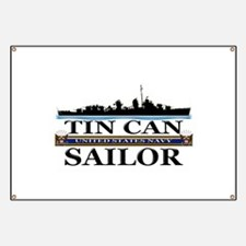 USN Tin Can Sailor Silhouette Banner