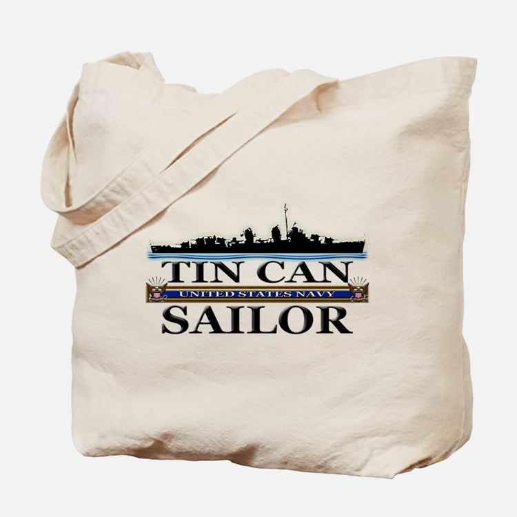 USN Tin Can Sailor Silhouette Tote Bag