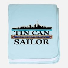 USN Tin Can Sailor Silhouette baby blanket
