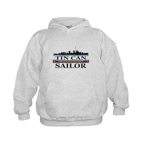 USN Tin Can Sailor Silhouette Kids Hoodie