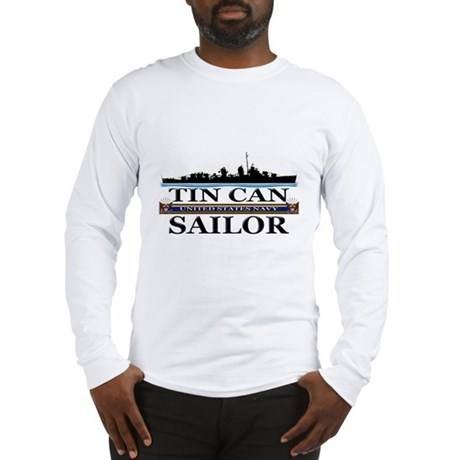 USN Tin Can Sailor Silhouette Long Sleeve T-Shirt