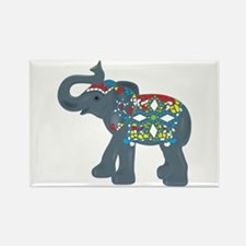 Tribal Art Elephant Rectangle Magnet