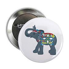 "Tribal Art Elephant 2.25"" Button"