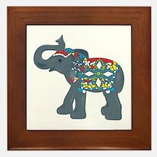 Tribal Art Elephant Framed Tile