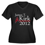 James Kirk 2012 Women's Plus Size V-Neck Dark T-Sh