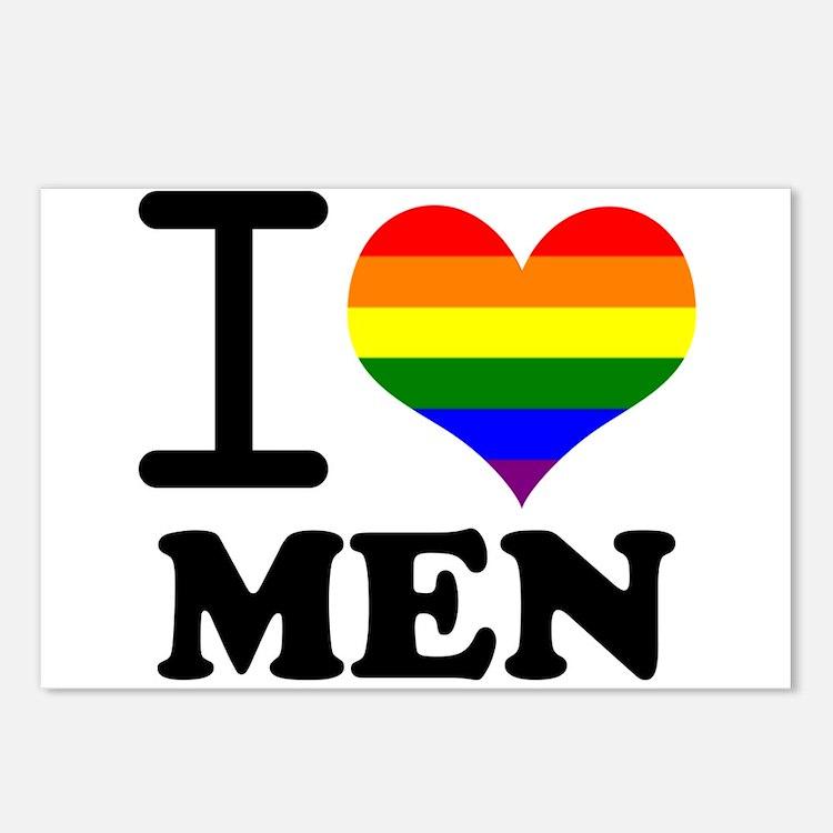 Gay Pride - I love men Postcards (Package of 8)